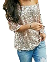 Fanessy Summer Damen Batwing T-Shirts Street Style Pailletten Lose Bluse Vintage Tops Damen Oberteile Hipster