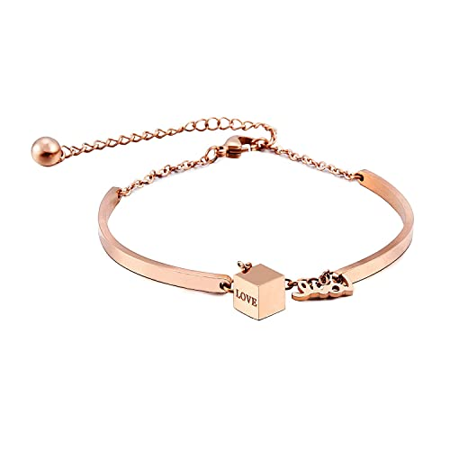 f976a72d659 DIDa Rose Gold Titanium Steel Love Pendant Charm Bracelet For Girls and  Women: Amazon.ca: Jewelry