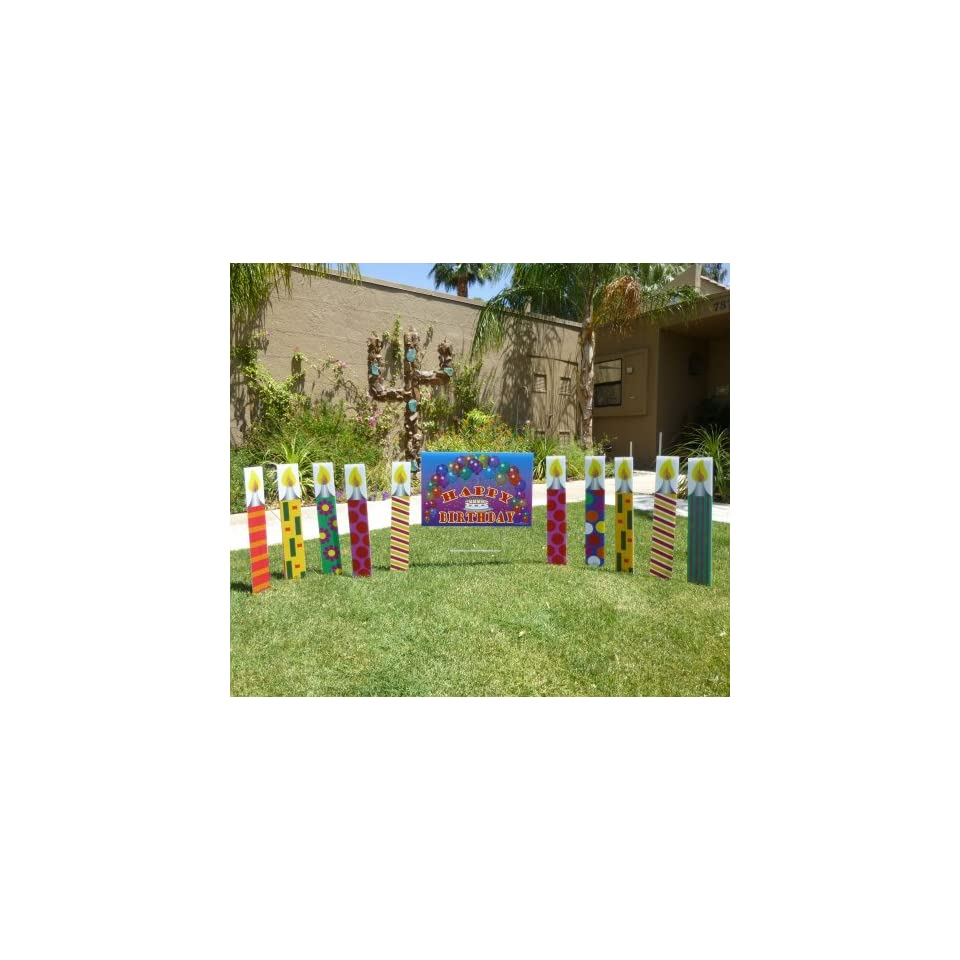 21 Outdoor Candles and a Large Happy Birthday Sign and 6 Pink Flamingos with twirling arms