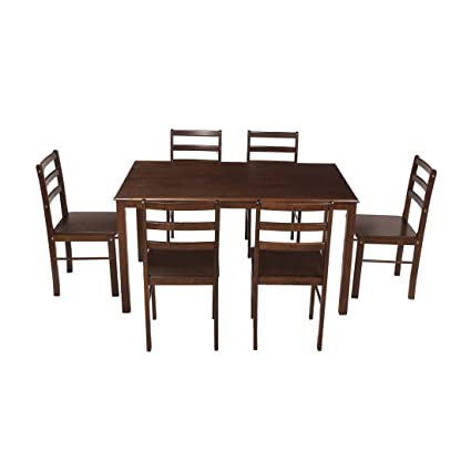 Woodness Camela Solid Wood Non-Upholstered 6 Seater Dining Table Set (Wenge)