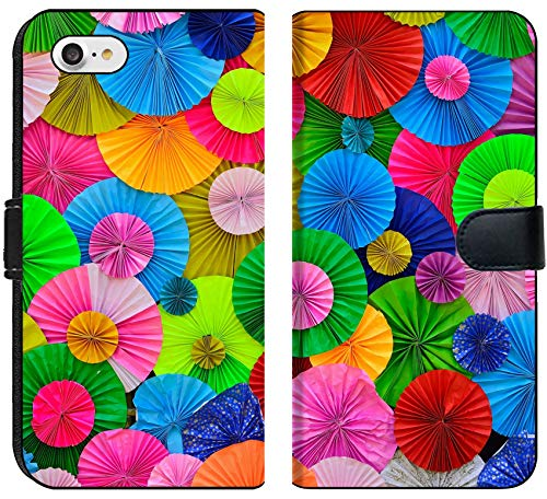 Luxlady iPhone 7 Flip Fabric Wallet Case Colorful circle pleat paper background IMAGE ID (Pleats Wallet)
