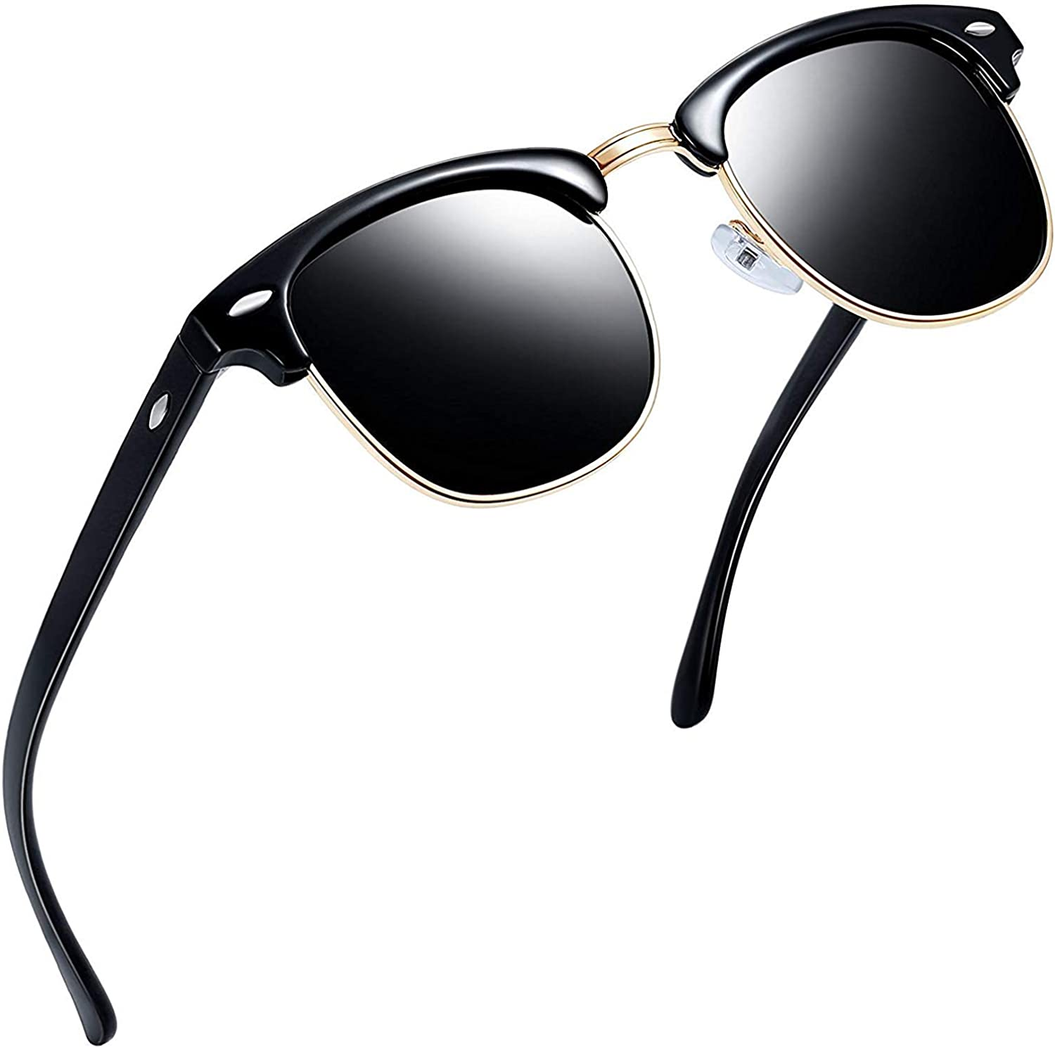Joopin Semi-Rimless Polarised Sunglasses for Men UV400 Protection Classic Horn Rimmed Half Frame Womens Sunglasses Brand Designer All Black