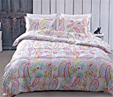 FLCA Home 100% Cotton Girls comforter Set With 2 pillow sham (PINK, Queen)