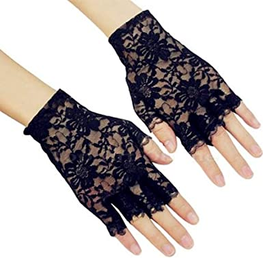 4 Pairs 80s Lace Gloves Ladies Floral Lace Gloves Lace Half Finger Gloves Fingerless Gloves for Girls Women Daily Party Favors