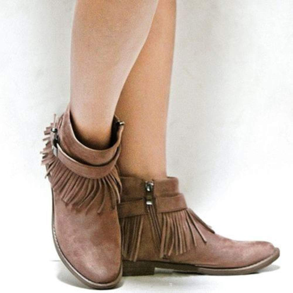 c5a8f34d804e Amazon.com | Fashare Womens Western Fringe Booties Cowboy Low Heel Fall  Ankle Short Boots Shoes | Ankle & Bootie