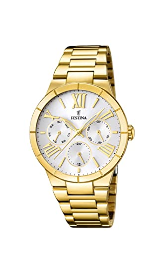 Festina F16717/1 - Reloj de cuarzo para mujer, con correa de acero inoxidable chapado, color dorado: Amazon.es: Relojes