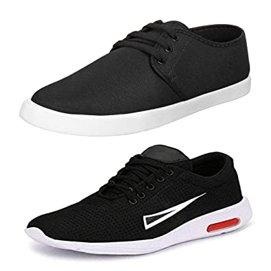 c6168555609de Bersache Men's Multicolor Combo Pack of 2 Canvas Casual, Sneakers ...
