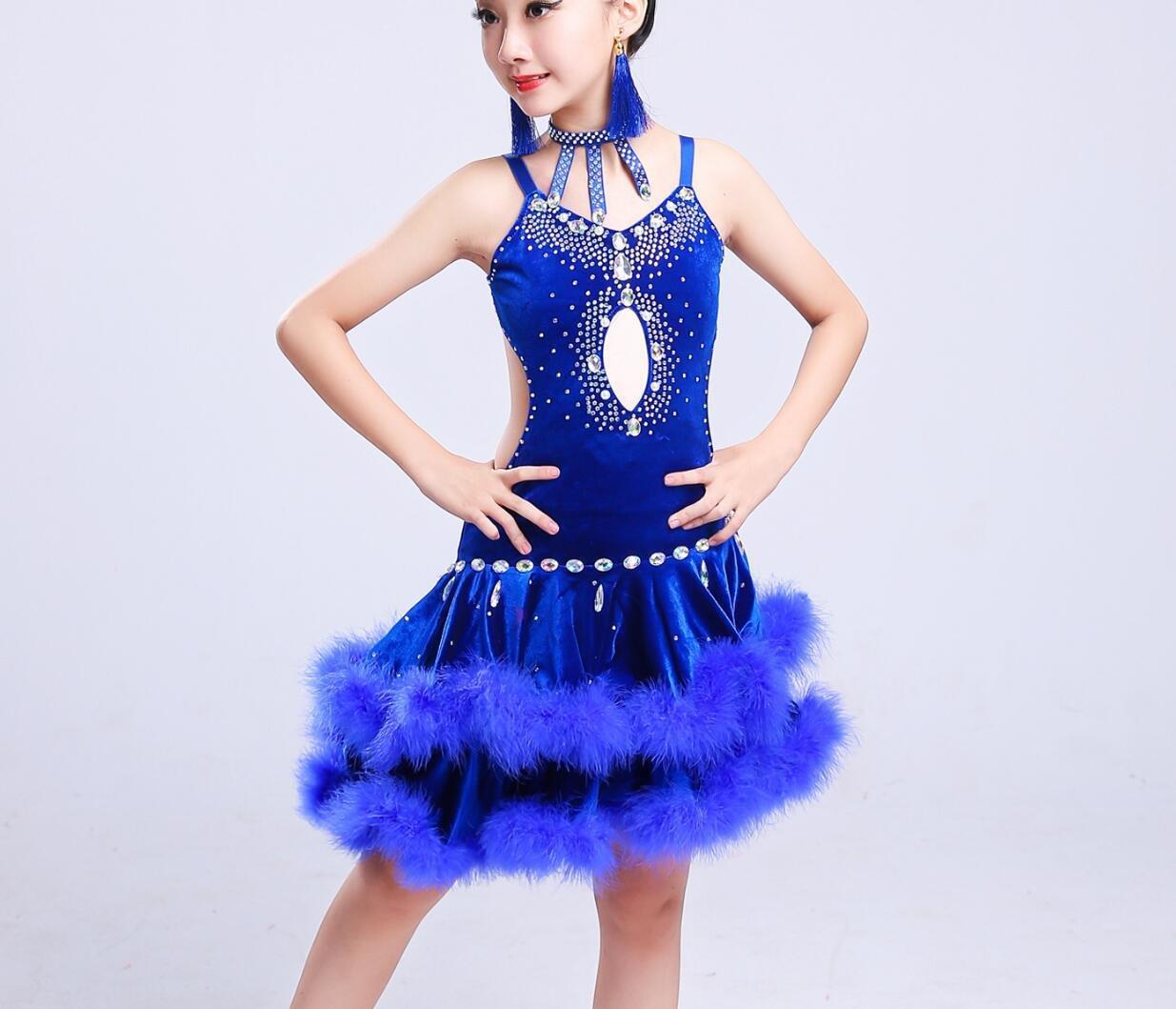 Bleu Costume de Danse Latine pour Enfants Costume de Danse Latine pour Enfants Dance Dance Costume Blanc Rouge Bleu Noir 150cm