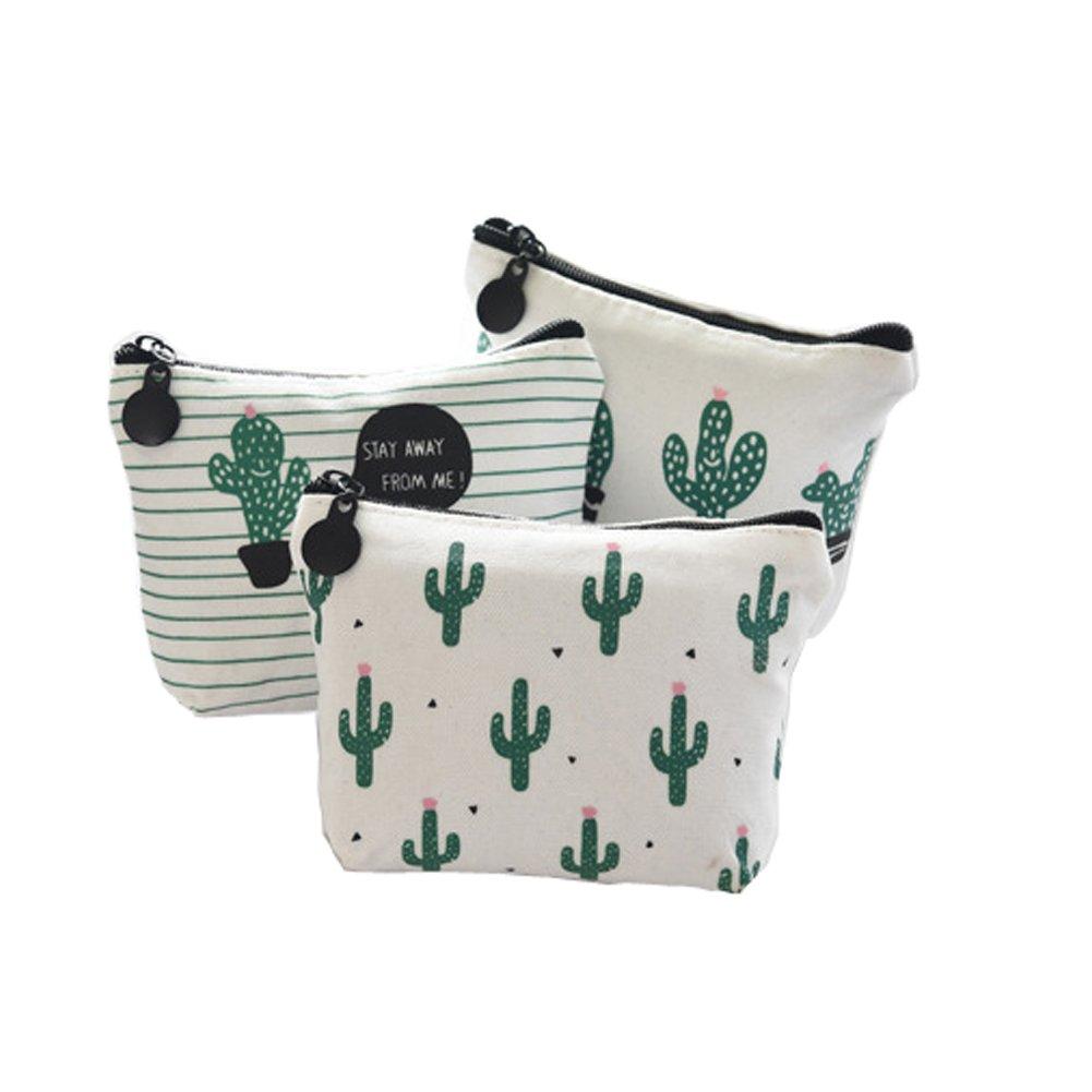 Doitsa Coin Purse 3 Pcs Cute Green Cactus Canvas Portable Change Cash Bag Small Purse Wallet Night Deposit Bag for Lipstick Keys Headset