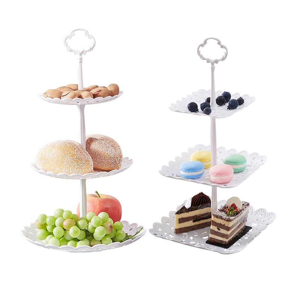 2 Set of 3-Tier Cake Stand and Fruit Plate Cupcake Plastic Stand White for Cakes Desserts Fruits Candy Buffet Stand for Wedding & Home & Birthday Party Serving Platter by Agyvvt