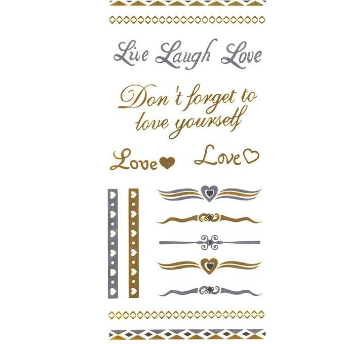 Tatuajes ephémères color Metal Love Amor Corazón Bijoux de piel ...