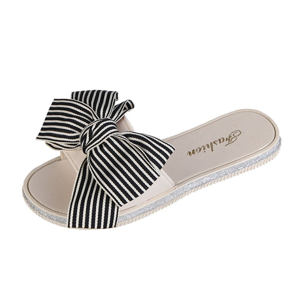 Nevera Women's Fashion Stripe Bow Round Toe Flat Sandals Slipper Casual Beach Shoes Beige
