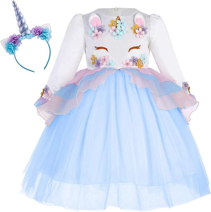 OBEEII Vestido Unicornio Disfraz Carnaval con Unicorn Cuerno ...
