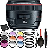 Canon EF 50mm f/1.2L USM Lens - 8PC Accessory Bundle Includes 3 Piece Filter Kit + 4 Piece Macro Filter Set + 6 Piece Graduated Filter Kit + Dust Blower + Lens Cap Keeper + MORE