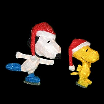 snoopy woodstock skating tinsel 3d christmas decoration - Snoopy Outdoor Christmas Decorations