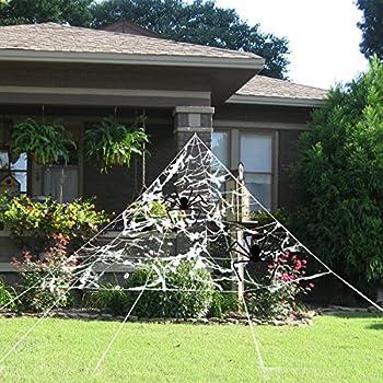 pbpbox halloween giant spider web set for outdoor halloween yard decorations. Black Bedroom Furniture Sets. Home Design Ideas