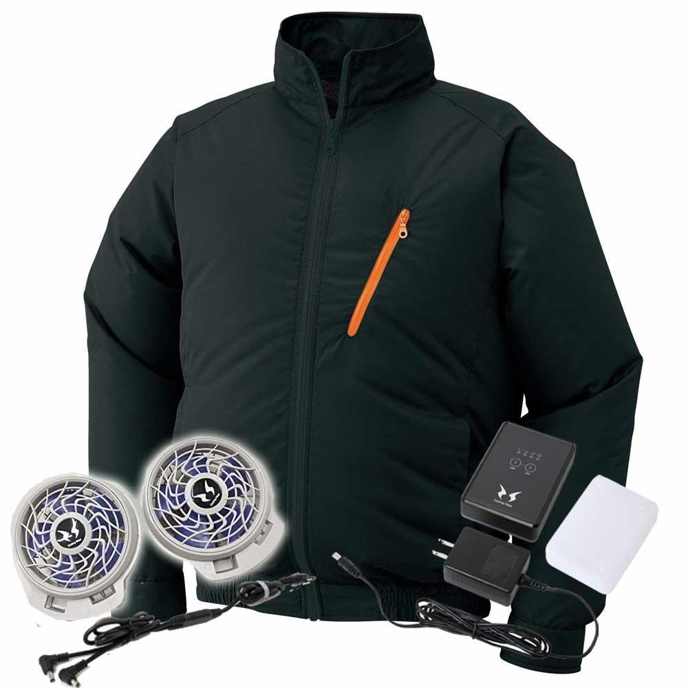 空調風神服 サンエス ブルゾングレーファンバッテリーセット ku90515 B071VSQWF5 LL|9ブラック 9ブラック LL