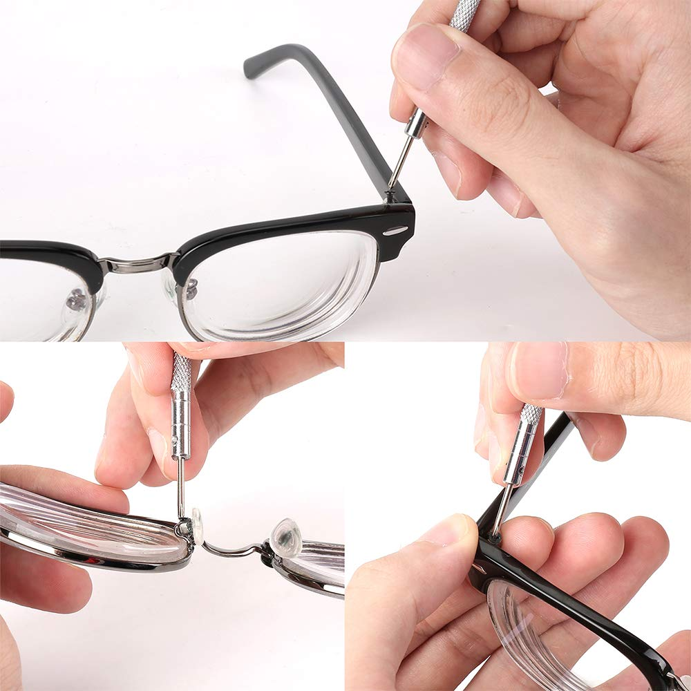 L-Silite Mini-Schrauben Schmuck 500 St/ück bequemes Tragen Reparatur-Set mit Schraubendreher f/ür Brillen Uhren