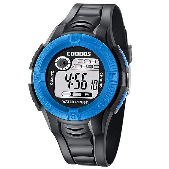 coobos - Reloj Impermeable Digital para Chicos Deportivo con Cronógrafo Reloj Led Infantil Silicona con Alarma