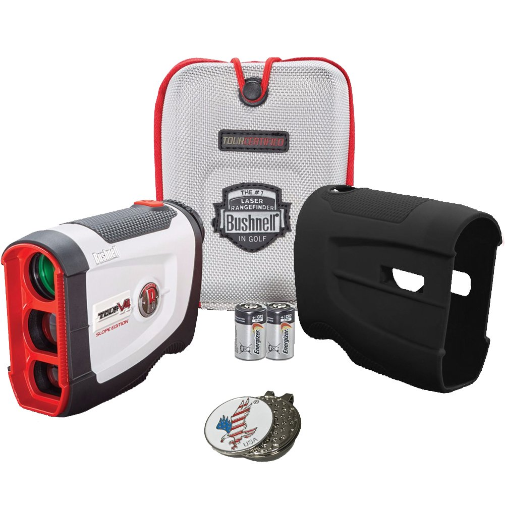 Bushnell 2017 Tour V4 Shift Slope Edition Patriot Pack Golf Laser Rangefinder + 2(two) CR2 Batteries + 1 Custom Ball Marker Clip Set (American Eagle) + Black Silicon Skin
