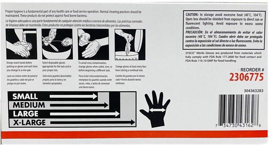 SYSCO HIGH Performance Nitrile Gloves Large Powder Free Blue