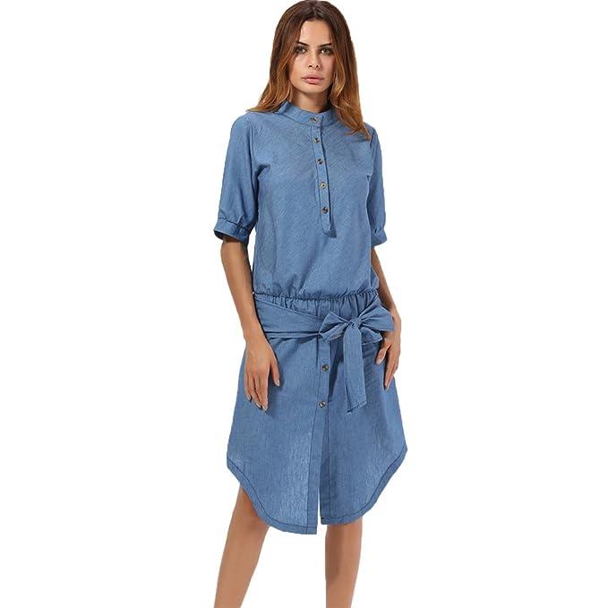Yamee Damen Jeanskleid Sommerkleid Freizeitkleid Denim Kleid