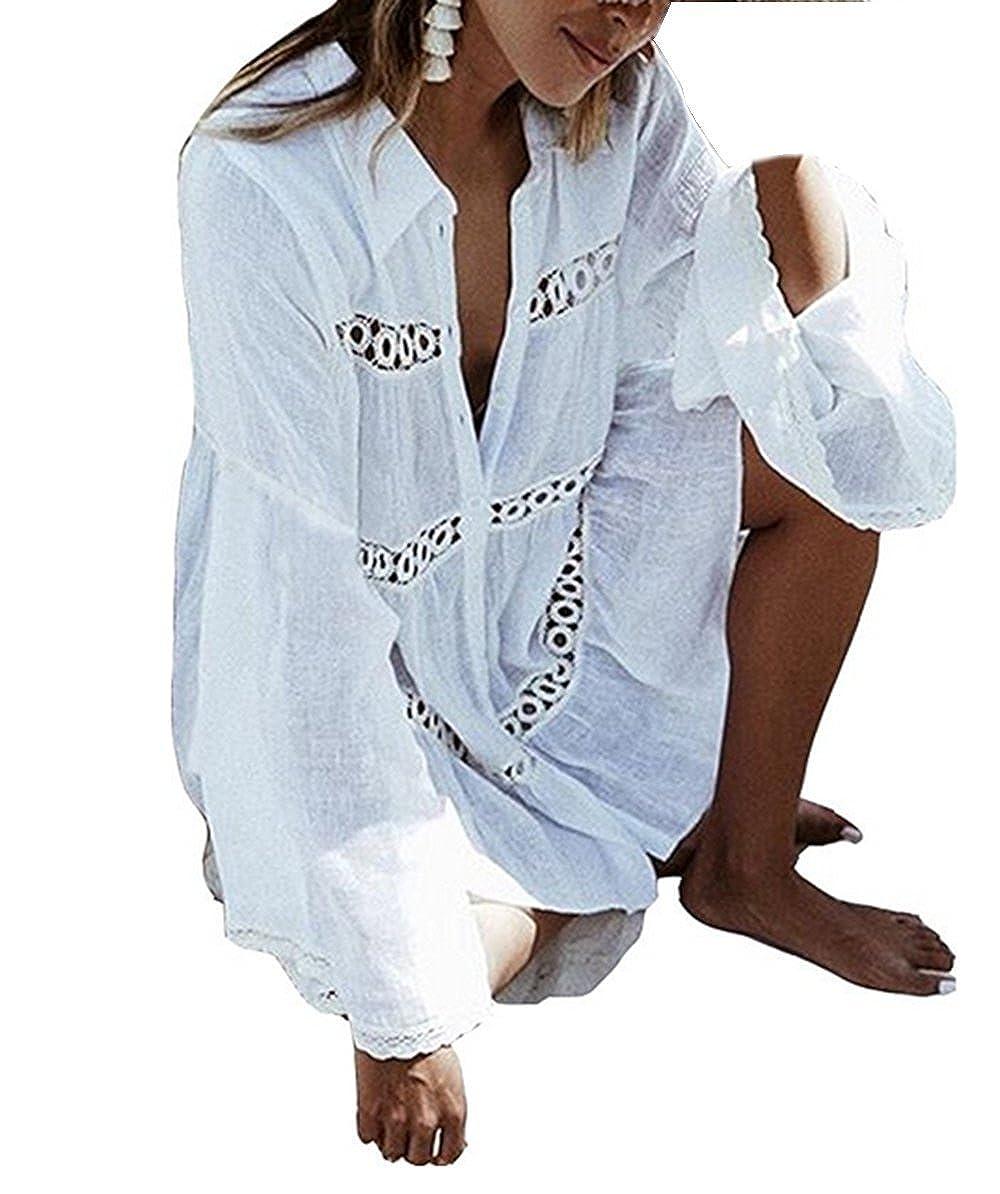 ASSKDAN Damen Loose Spitze Pareos Bikini Cover Up Kurz Strandkleid Strandtunika - Weiß One Size) DEYF6039_WH