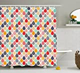 Ambesonne Geometric Shower Curtain, Raindrops Doodle Style Cute Creative Leaf Shaped Colorful Girls Kids Baby Theme, Fabric Bathroom Decor Set with Hooks, 70 Inches, Multicolor