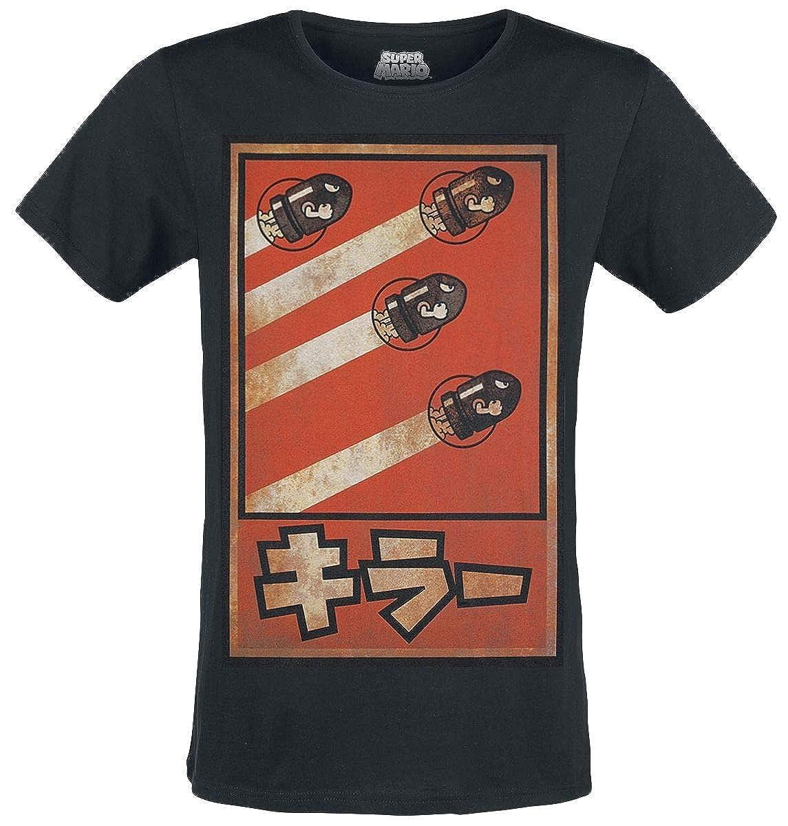 Super Mario Herren T-Shirt Kugelwilli Bullet Bill Propaganda Poster Baumwolle Schwarz
