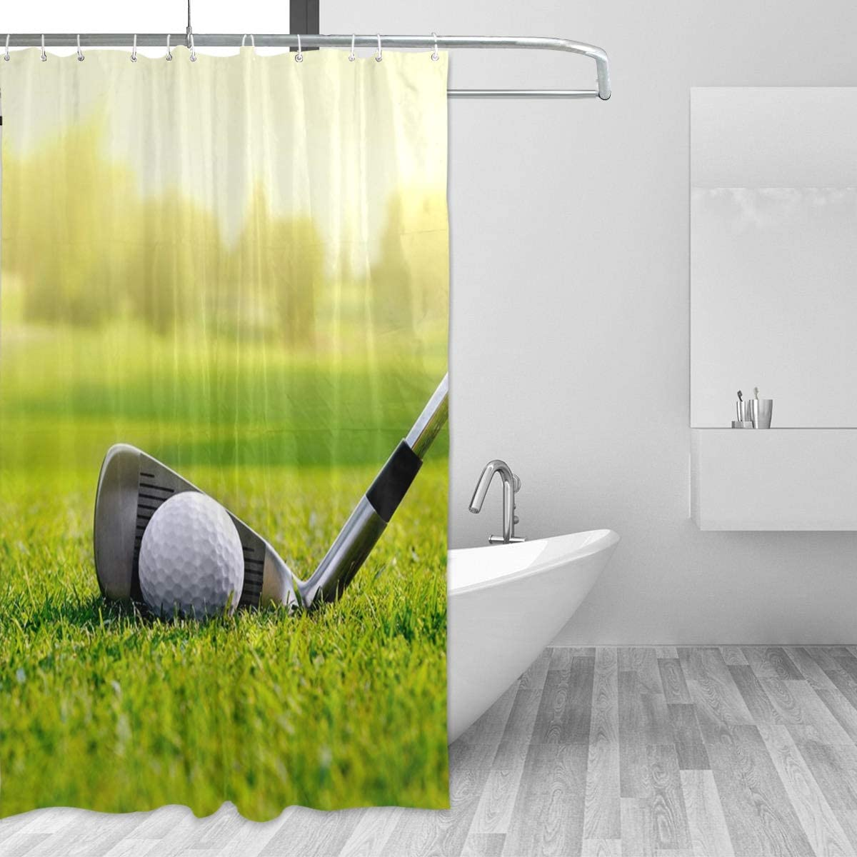 Amazon Com Titlesign White Golf Ball On The Course Waterproof Shower Curtain Bathroom Decor 72 X 72 Home Kitchen