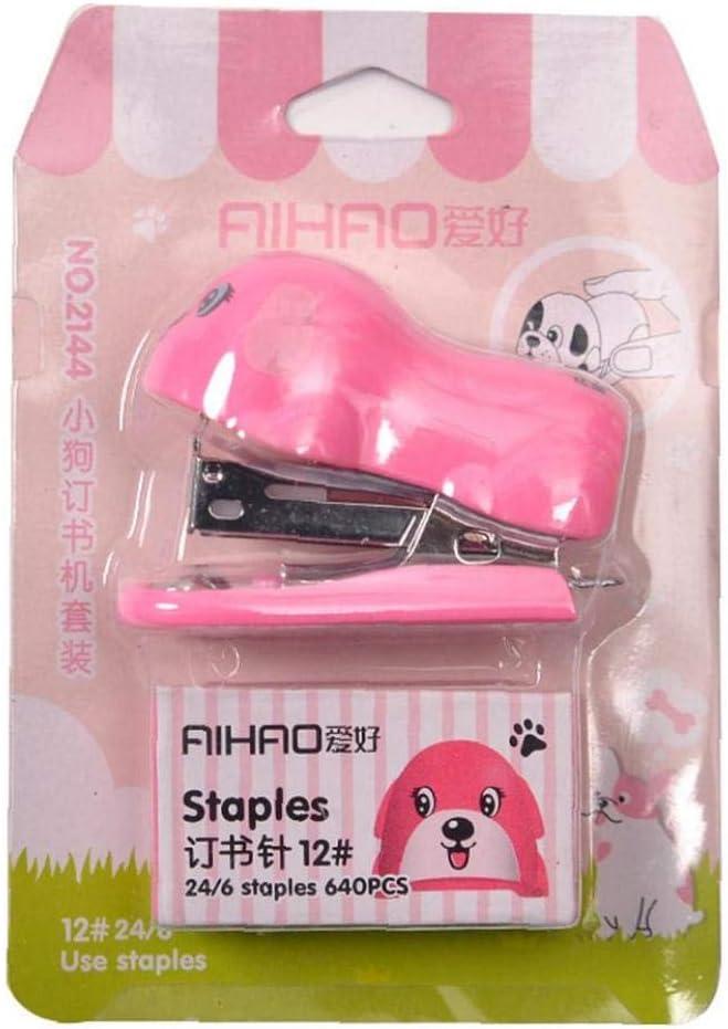 Dog Shape Stapler Mini Manual Desktop Stapling Machine Tool for Kids Children 1 Set Color Randomly