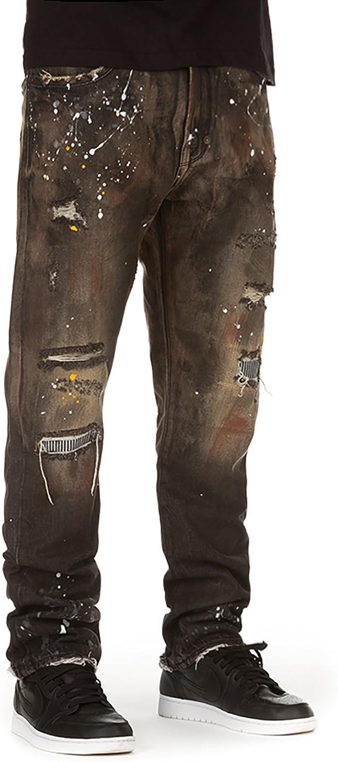 Etecredpow Mens Denim Simple Jean Hole Trousers Slim Solid Washed Pants
