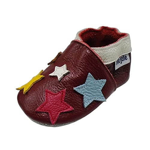 61afc33dd5d Mejale Baby Shoes Soft Sole Leather Crawling Moccasins Cartoon Stars Infant  Toddler First Walker Slippers