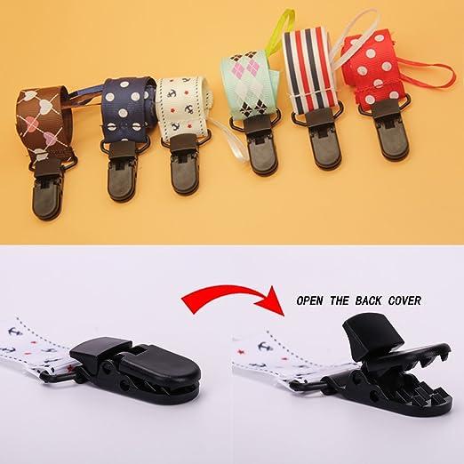 Amazon.com: Paquete de 6 babygoal chupete Clips diseños ...