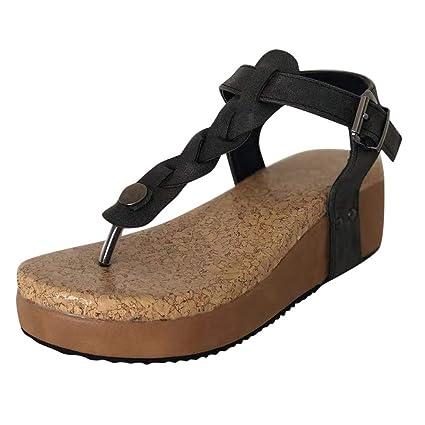 75ee9ce9f4 Women's Casual Open Toe Buckle Strap Sandals Platforms Med Heel Shoes (Black,  5 Women