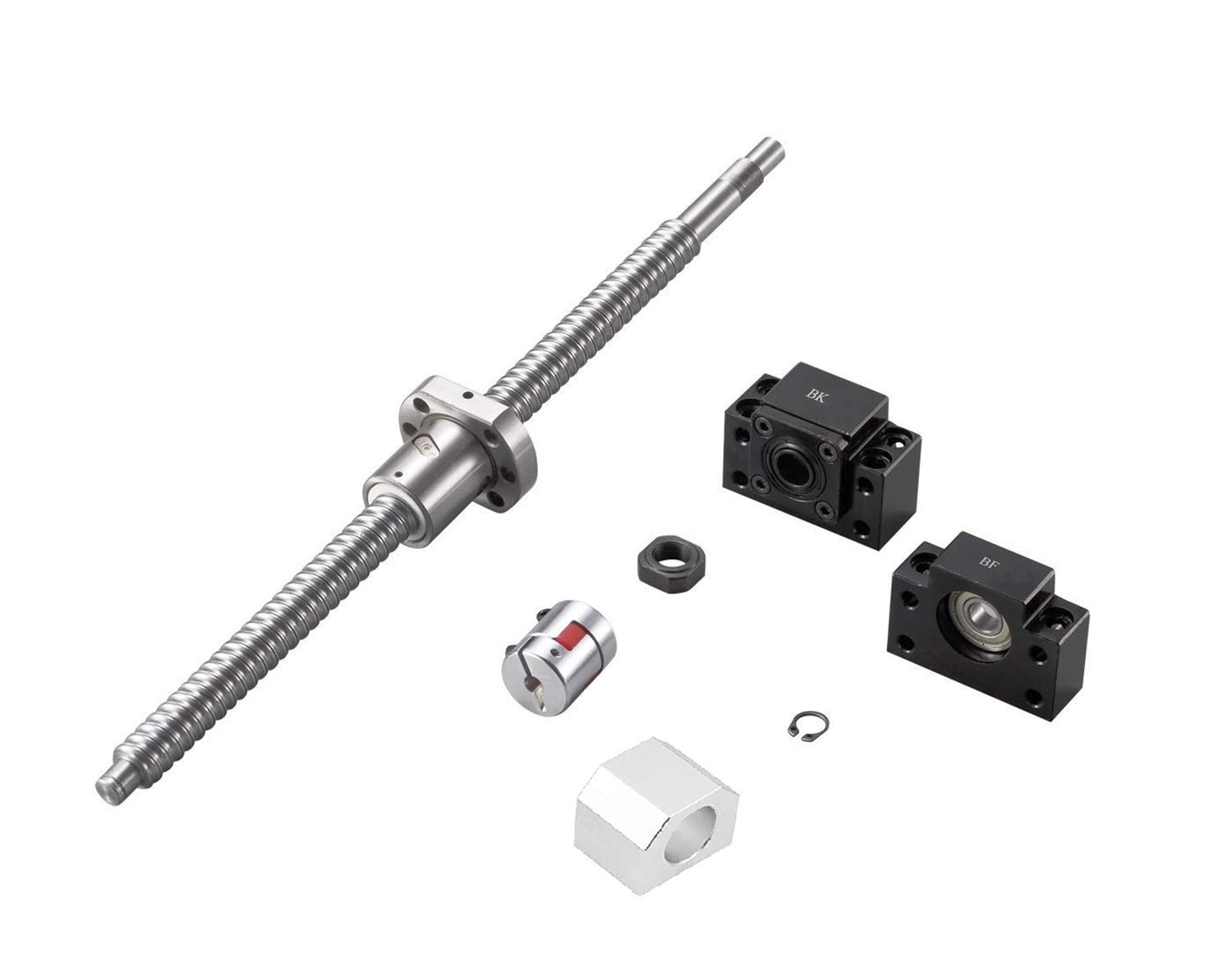 Mssoomm Ball Screw SFU1604 RM1604 16mm Length 100.39 inch BK//BF12 End Supports Coupler 2550mm with Ball Screw Nut Ball Screw Nut Housing with End Machining for CNC Machine