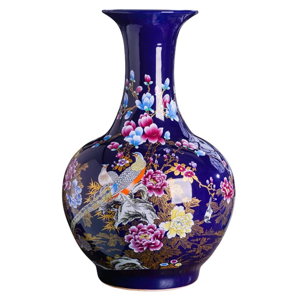 大花瓶セラミックス新しい中国の床フラワーアレンジメントフラワーデコレーションテレビキャビネットデスクデコレーション LQX B07RK6T16X