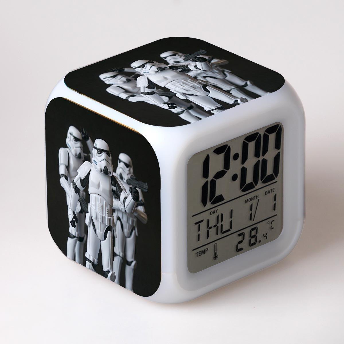 SXWY Sveglia Star Wars Digitale Colorful Lights Mood Alarm Clock Quartet Disponibile Ricarica USB Adatto A Bambini E Ragazzi Bambini Regali Speciali,8