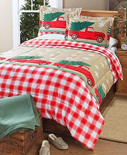 King Tree Farm Holiday Comforter Set with Vintage Truck, Christmas Trees - Set of 3 (California Farm Tree Christmas)