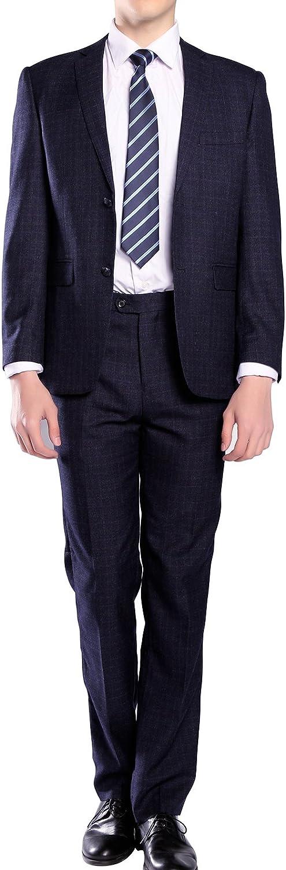MOGU Mens Suits Slim Fit Plaid Two Piece Casual Fashion Suit Set Pants Unhemmed