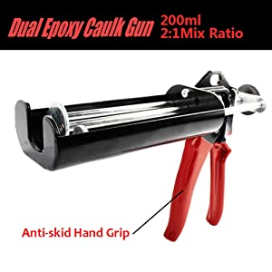 Manual Dual Epoxy Gun for 200 mL/6.75 fl oz (2:1 Mix Ratio) Double Cartridge Caulk Panel Bond 08115 08116 -Scarlet & Black