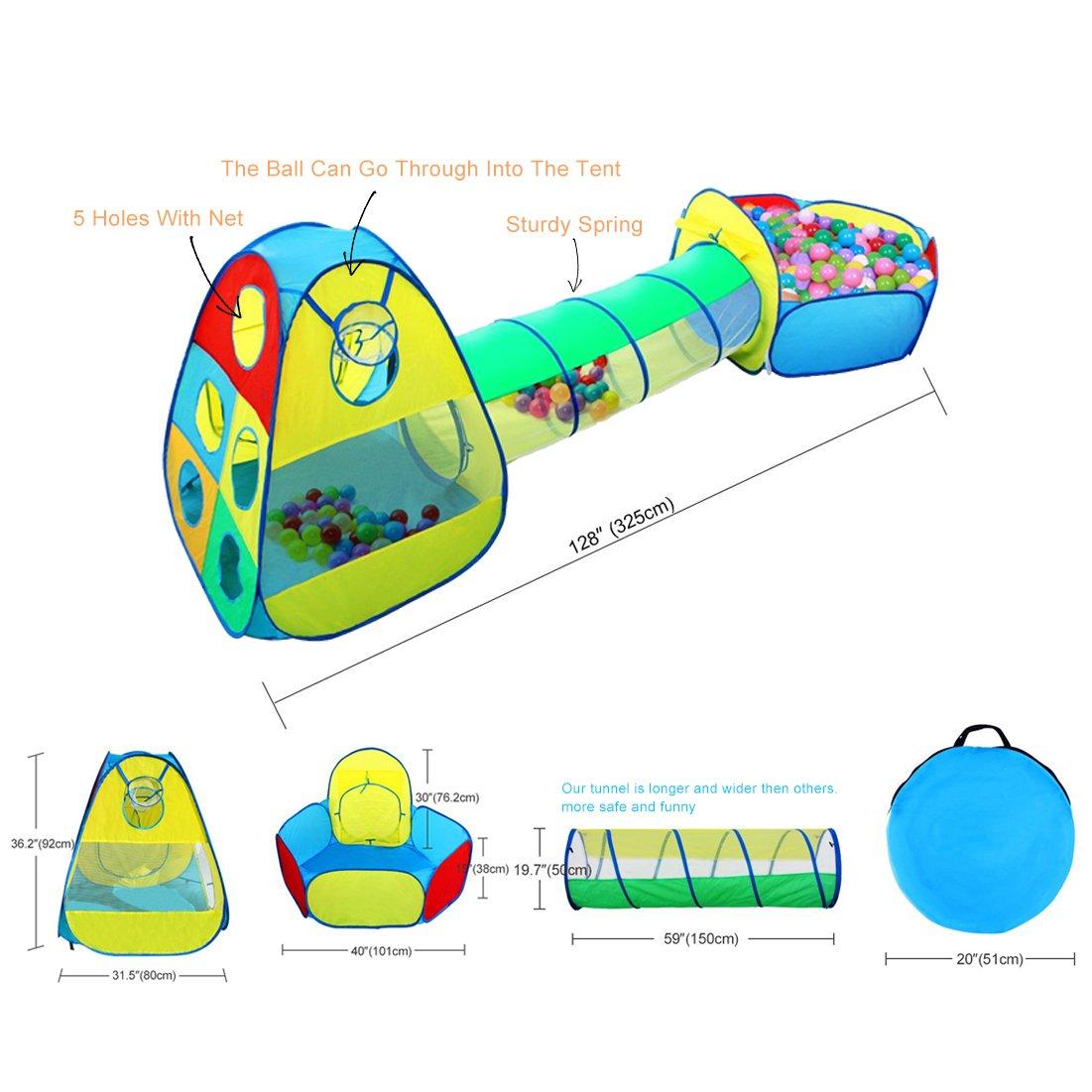 INKERSCOOP Mini Parque el Jardín de Casa Tienda de Campaña Infantil 3 en 1 con Túnel y Cesta para Niños en Exterior e Interior Plegable Portátil con ...