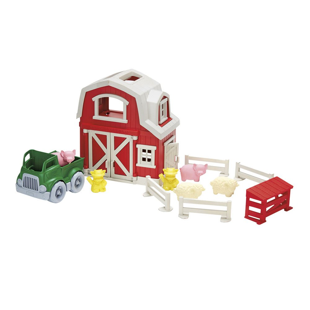 Green Toys Farm Playset this playset includes a barn, pick-up truck, farmer cow characters, sheep, pigs, fences, and a hog shed for endless imaginative play kids toddlers