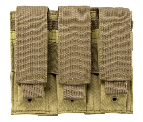 Enhanced Pistol Mag Pouch - VISM by NcStar Triple Pistol Mag Pouch - Tan Color - Fits SIG P226 P229 Enhanced Elite Equinox Beretta M9 92 96 PX4 PX9 Glock 17 19 22 23 Hk USP Ruger P85 P89 P90 P95 P345 Magazines