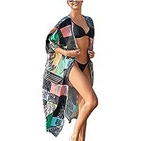 Lazz1on Cardigan Pareos Mujer Cubrir Traje de Baño Floral Kimono Cubierta de Playa Ups Bohemia Largos Vestido