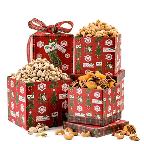 Christmas Gift Basket 3 Tier Tower Pistachio Cashews Pecan, and Dried Fruit Assortment By Benevelo
