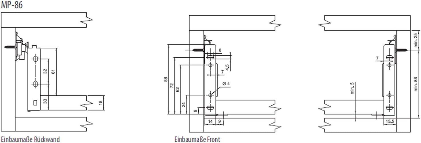 500 mm cremewei/ß Schublade Schubkasten von SO-TECH 54 mm//Nennl/änge Schubladensystem MetallBox Zargenh/öhe