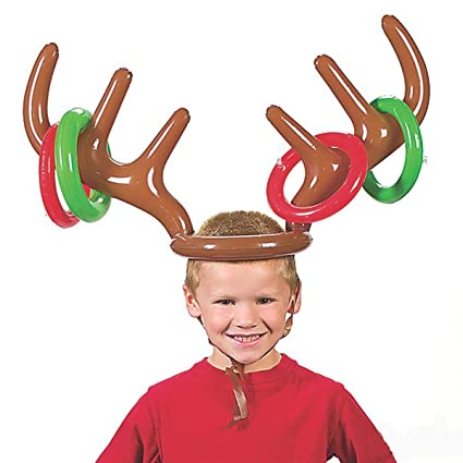 d53940189dc1a Image Unavailable. Image not available for. Color  Inflatable Reindeer  Antler Hat Ring Toss Christmas Holiday Party Game ...