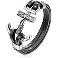HAQUIL Double Layer Black Leather Bracelet for Men and Boys