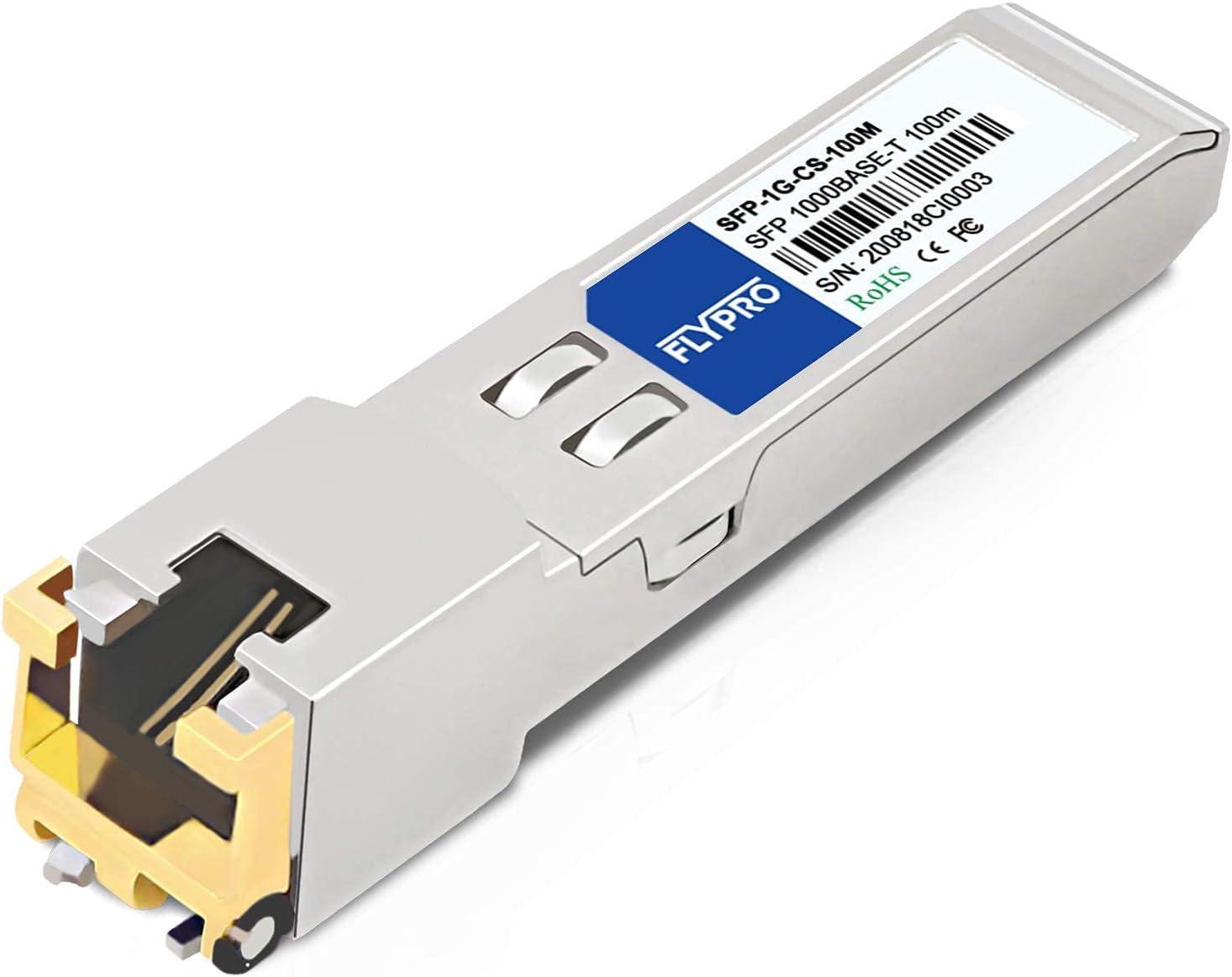 SFP to RJ45 1000Base-T SFP, 1.25G SFP RJ45 Copper Module, RJ45 SFP for Cisco GLC-T/SFP-GE-T,Meraki, Ubiquiti UF-RJ45-1G, MikroTik, Netgear, Supermicro, Broadcom, D-Link, TP-Link, 100M, FLYPROFiber